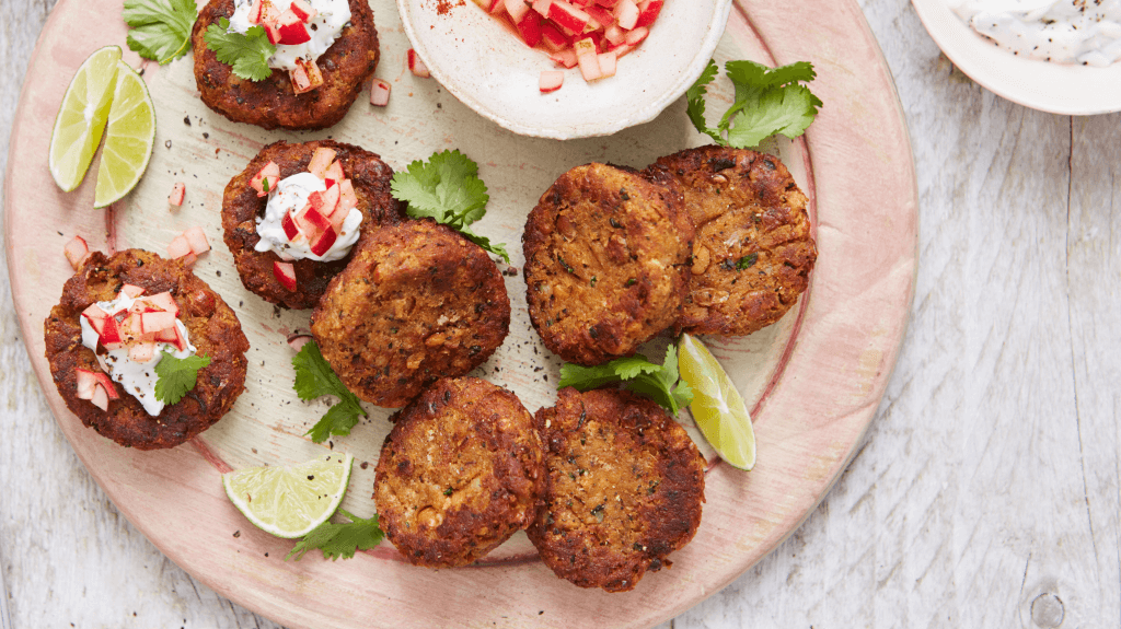 Spiced Chickpea Cakes with a Radish and Yoghurt Topping
