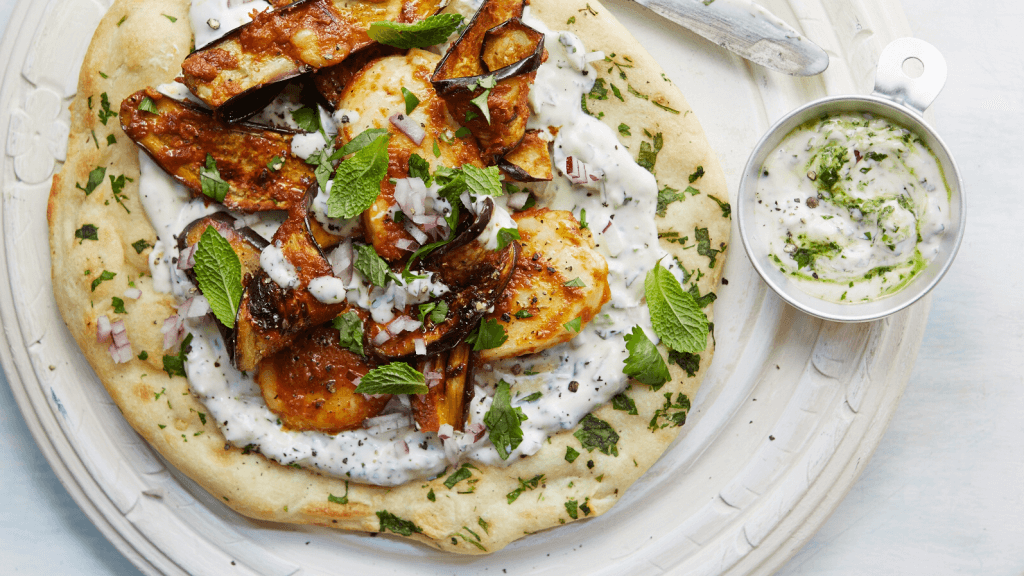 Grilled Halloumi and Aubergine Wraps with Herbed Yoghurt