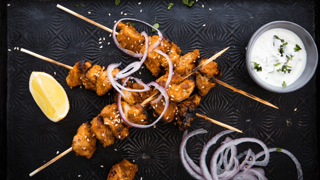Tomato Chicken Kebabs with Garlic and Sesame Yoghurt