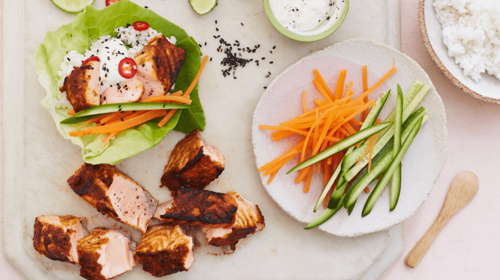 Tandoori Salmon and Rice Lettuce Wraps Green Goddess Dressing