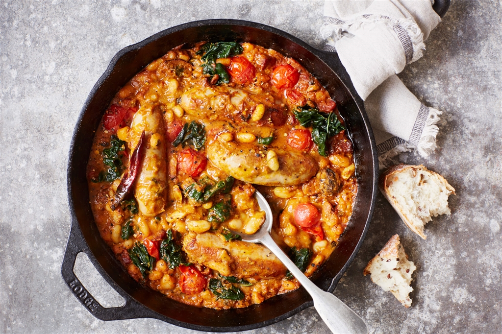 Lightly Spiced Sausage, Chorizo and Bean Casserole