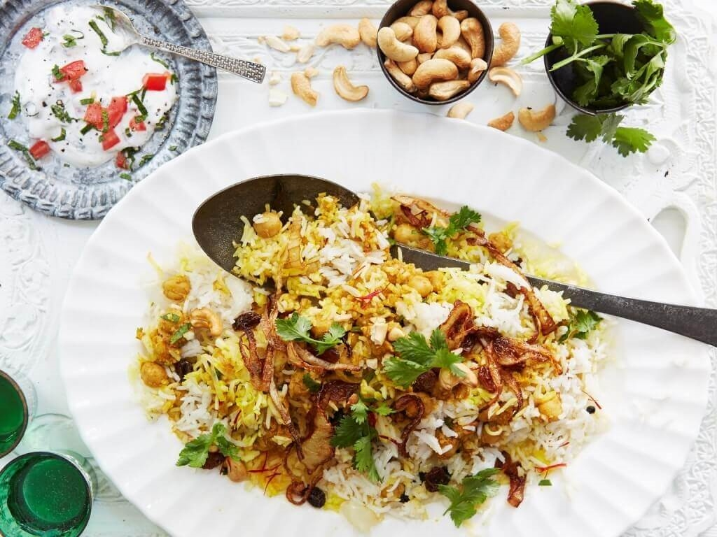 Spiced Chickpea and Mushroom Biryani