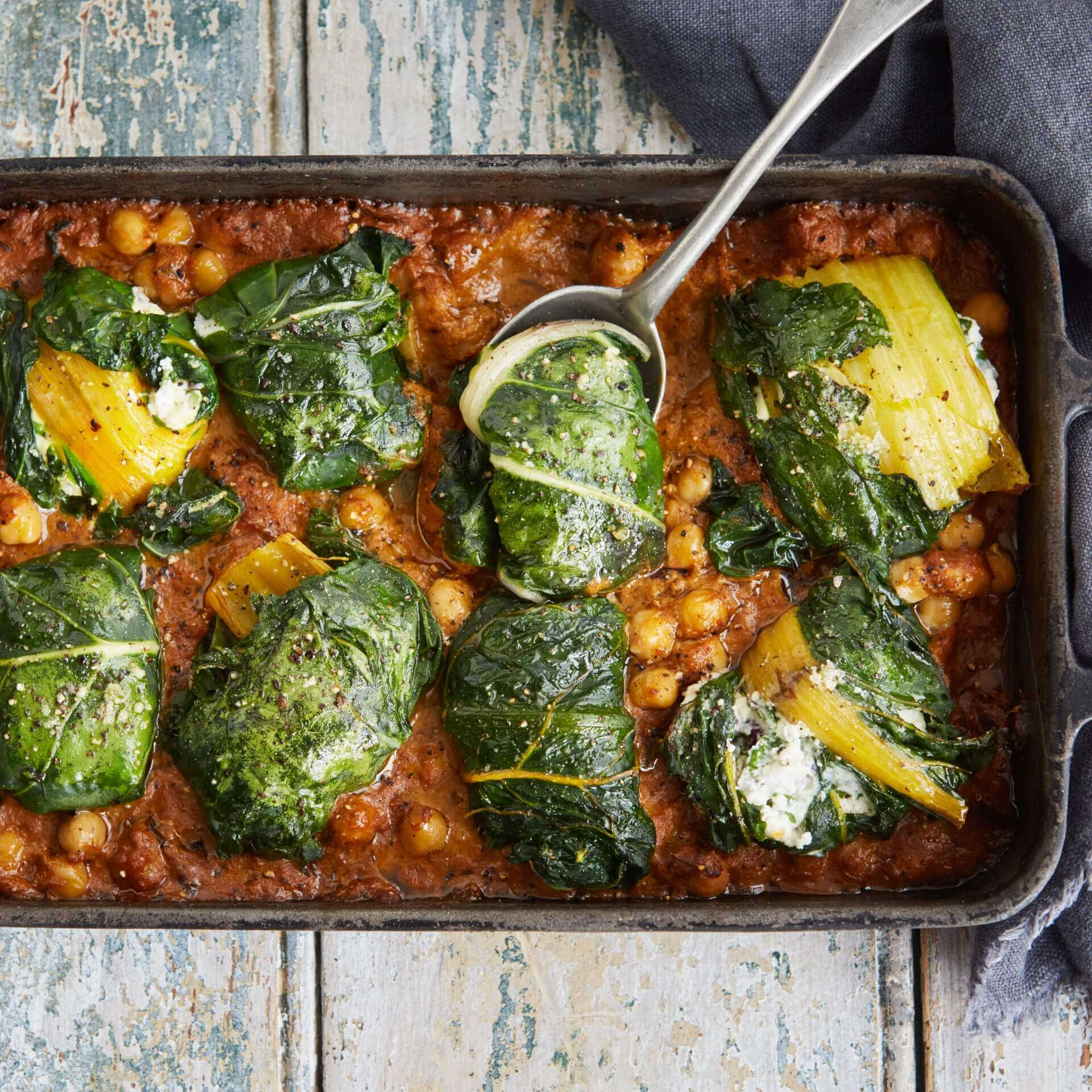 Baked Ricotta-Stuffed Chard in a Spiced Chickpea Curry