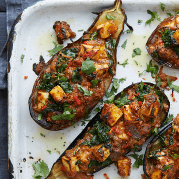 Baked Tofu and Spinach Stuffed Aubergines