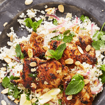 Warm Grilled Chicken, Cauliflower Rice and Almond Salad with Herb Dressing