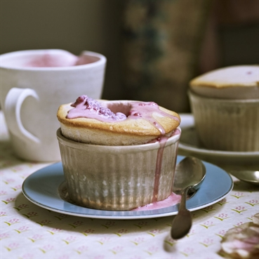 Pomegranate Soufflé with Rose and Raspberry Cream