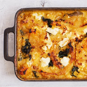 Butternut Squash, Kale and Feta Gratin
