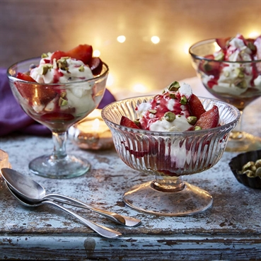 Spice Roasted Plum and Gulab Jamun Eton Mess