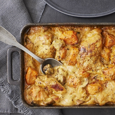 Creamy Chicken, Mushroom and Sweet Potato Korma Tray-Bake